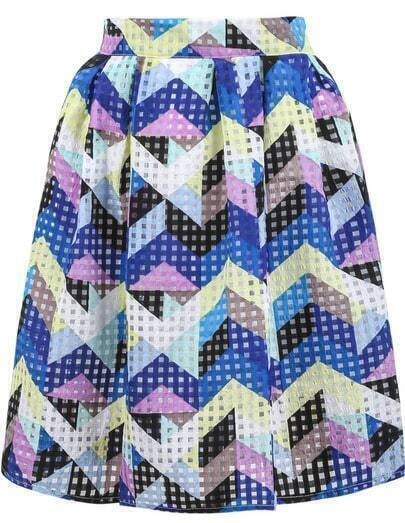 Blue Mid Waist Geometric Print Skirt