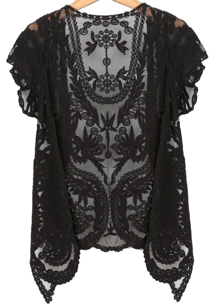 Black Short Sleeve Crochet Net Lace Cardigan -SheIn(Sheinside)
