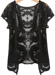 Black Short Sleeve Crochet Net Lace Cardigan