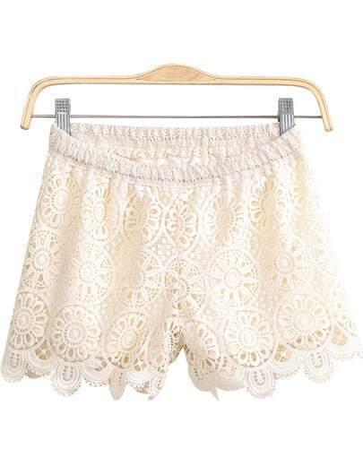 Apricot Elastic Waist Floral Crochet Lace Shorts