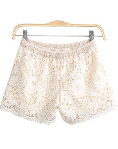 Apricot Elastic Waist Hollow Floral Crochet Lace Shorts