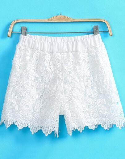 White Elastic Waist Floral Crochet Lace Shorts