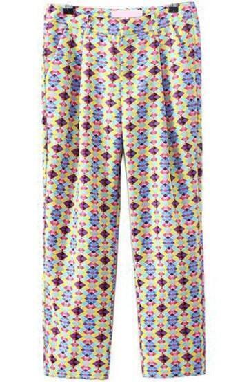 Multicolor Pockets Geometric Print Pant