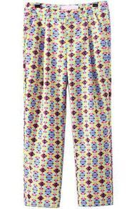 Multicolor Pockets Geometric Print Pant