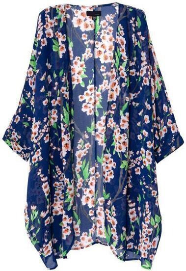 Blue Batwing Half Sleeve Floral Long Coat