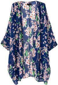 Blue Batwing Half Sleeve Floral Long Coat