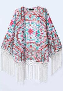 Red Long Sleeve Floral Tassel Kimono