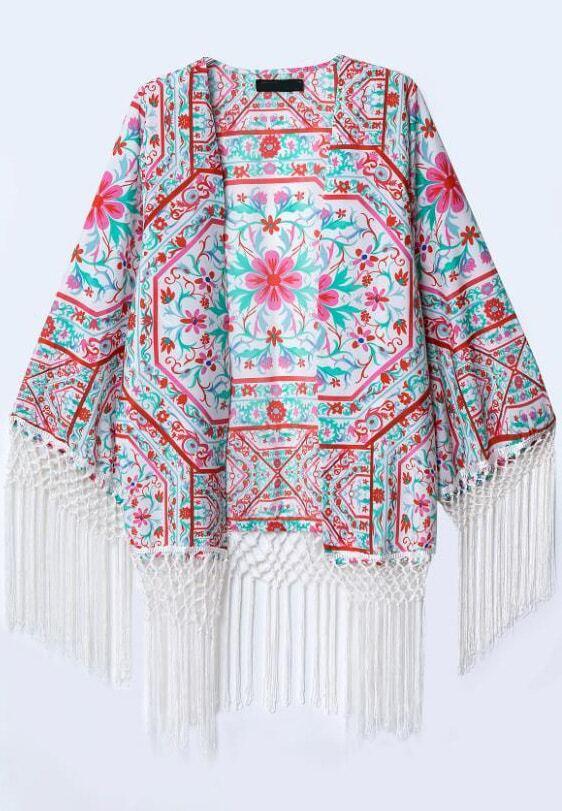 Red Long Sleeve Floral Tassel Kimono