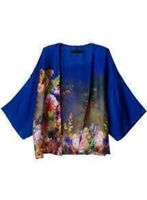 Blue Long Sleeve Floral Loose Kimono