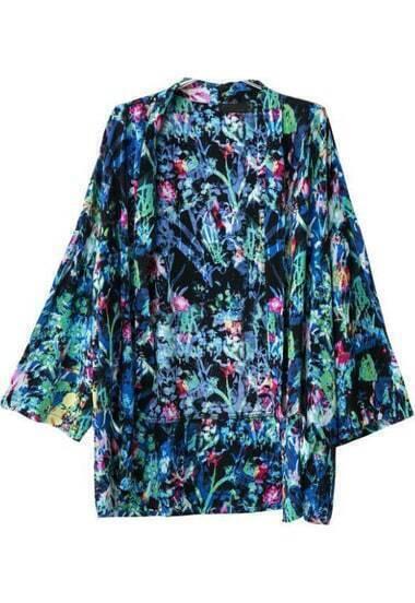 Blue Long Sleeve Floral Pockets Kimono