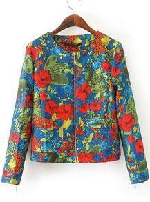 Blue Long Sleeve Zipper Graffiti Print Jacket