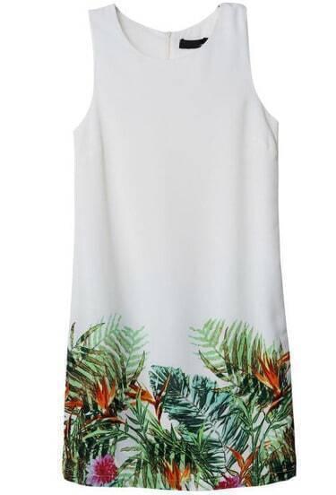 White Sleeveless Leaves Print Slim Dress
