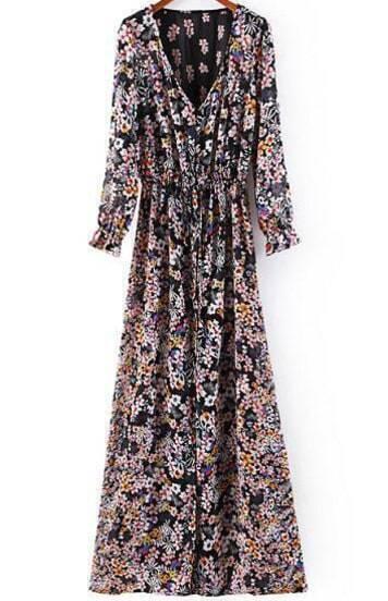 Black V Neck Long Sleeve Floral Maxi Dress