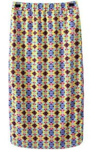 Multicolor Elastic Waist Geometric Print Skirt