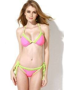 Pink Double Green Lace Trim Triangle Top with Classic Cut Bottom Bikini