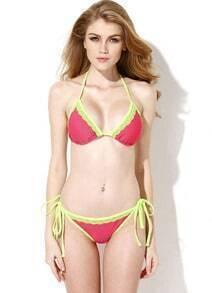 Watermelon Red Green Lace Trim Triangle Top with Classic Cut Bottom Bikini