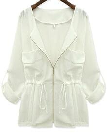 White Long Sleeve Zipper Drawstring Chiffon Coat