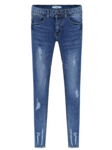 Blue Pockets Ripped Bleached Elastic Denim Pant