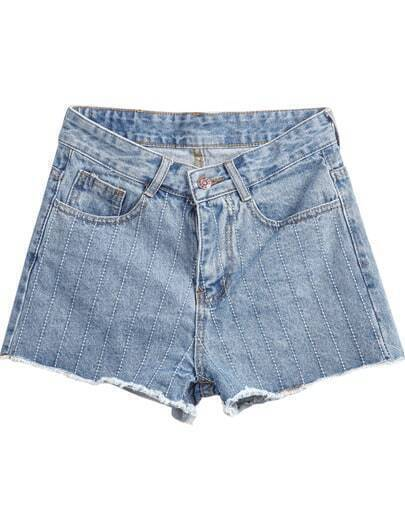 Blue Fringe Pockets Denim Shorts