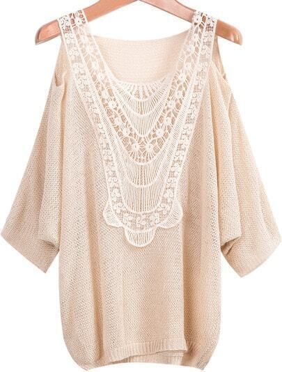 Apricot Off the Shoulder Lace Loose Knitwear
