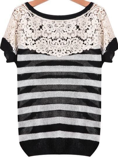 Black White Striped Short Sleeve Lace Sweater