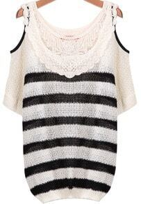 Black White Striped Contrast Lace Off the Shoulder Sweater