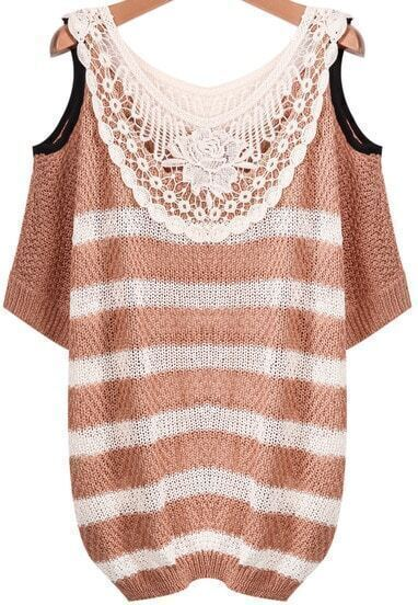 Pink White Striped Contrast Lace Off the Shoulder Sweater