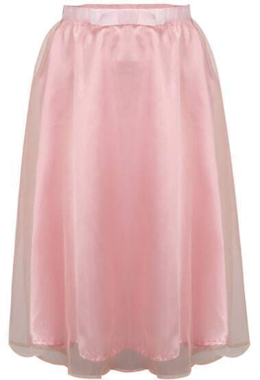 Pink High Waist Organza Skirt