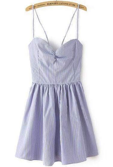 Blue White Striped Spaghetti Strap Backless Pleated Dress
