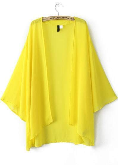 Yellow Puff Sleeve Loose Chiffon Blouse