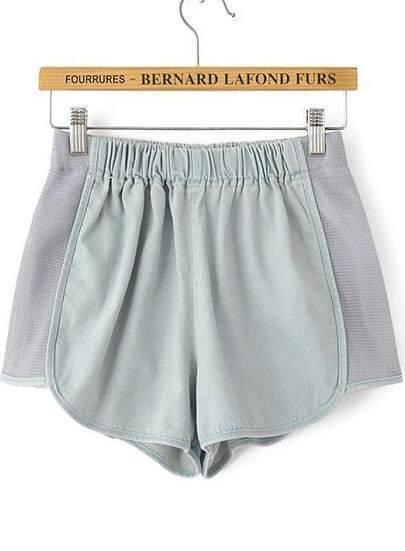 Light Blue Elastic Waist Contrast Gauze Shorts