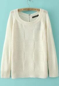 White Long Sleeve Plaid Pattern Loose Sweater
