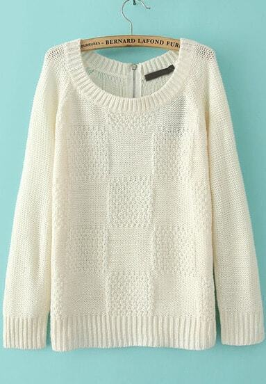 White Long Sleeve Plaid Pattern Loose Sweater