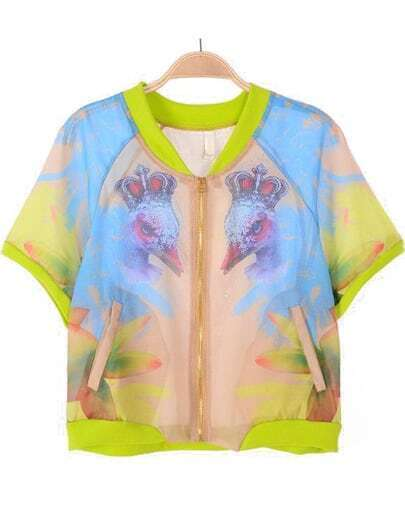 Yellow Blue Short Sleeve Birds Print Jacket