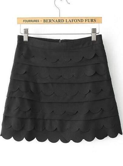 Black Cascading Ruffle Zigzag Skirt