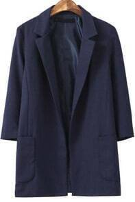 Navy Notch Lapel Pockets Loose Blazer
