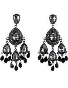 Black Drop Gemstone Tassel Earrings