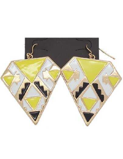 Yellow Glaze Gold Geometric Earrings