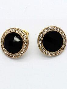 Black Gemstone Gold Diamond Stud Earrings