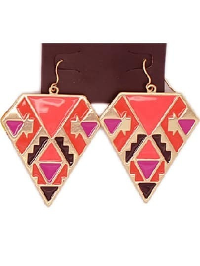 Red Glaze Gold Geometric Earrings