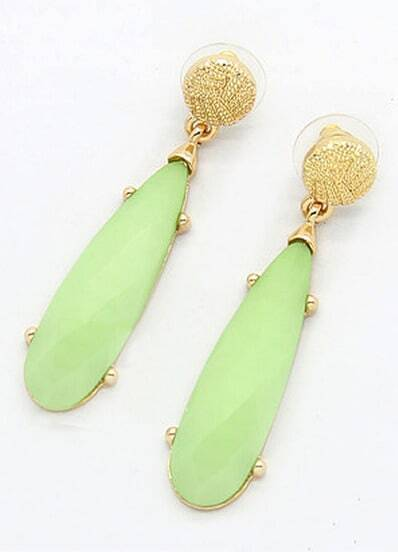 Neon Green Gemstone Gold Strip Earrings