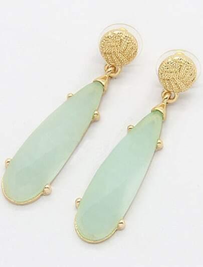 Green Gemstone Gold Strip Earrings