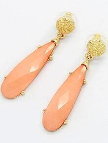 Orange Gemstone Gold Strip Earrings