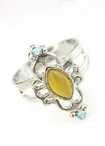 Yellow Gemstone Silver Hollow Ring