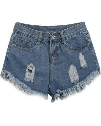 Blue Vintage Ripped Fringe Denim Shorts
