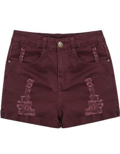 Wine Red Ripped Flange Denim Shorts