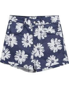 Blue Floral Flange Pockets Denim Shorts