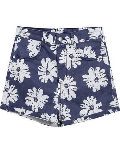 Blue Floral Flange Pockets Denim Shorts