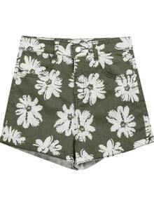 Green Floral Flange Pockets Denim Shorts