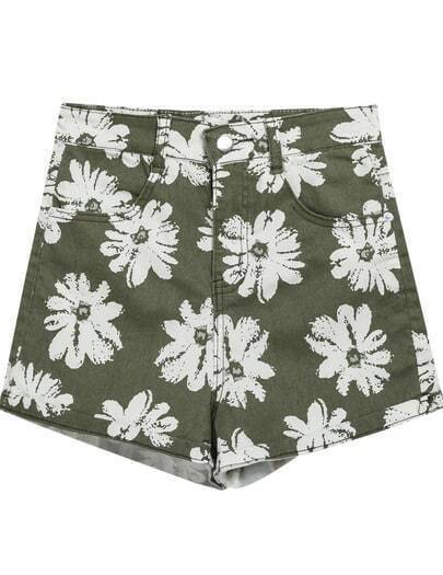 Green Floral Flange Pockets Denim Shorts